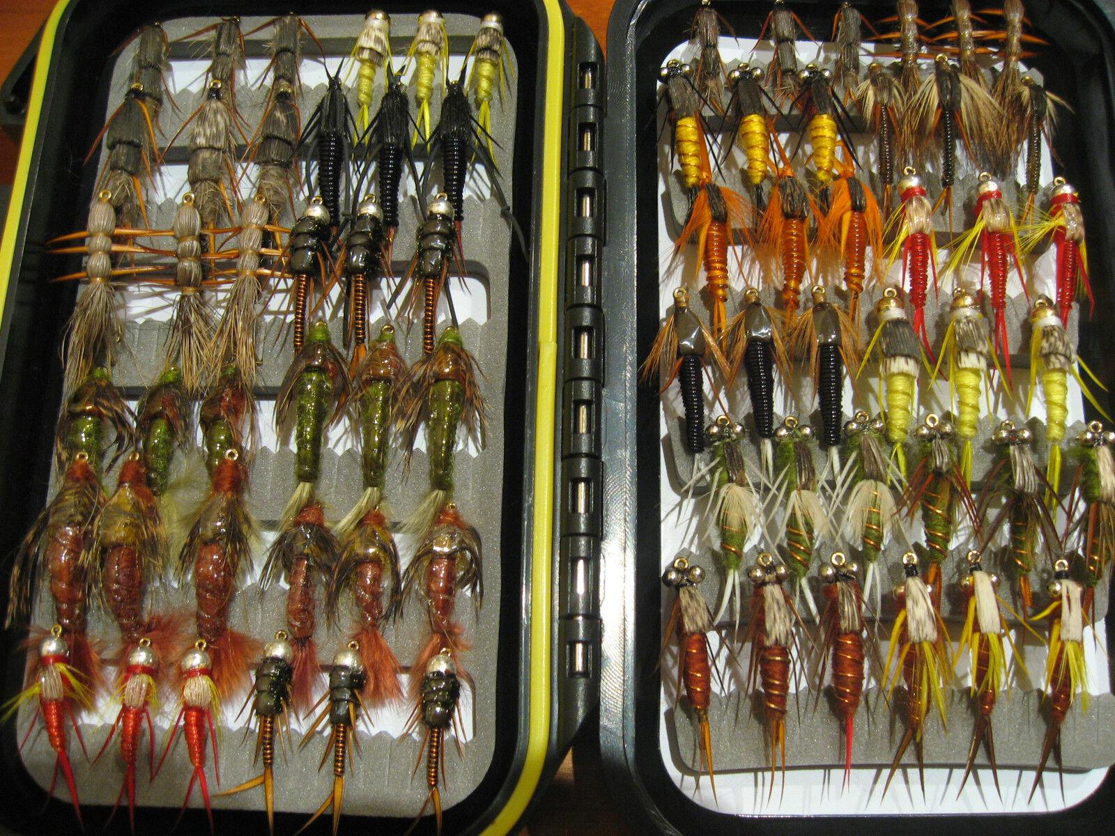 Colección de 72 ninfas de la piedra. Nuevas. New. Pesca a mosca. FLY FISHING -16