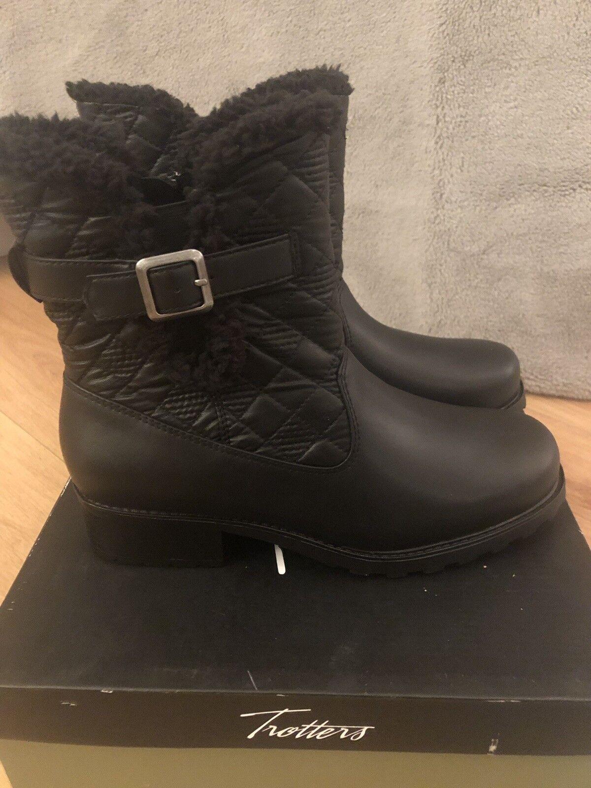 NARROW TredTERS BLAST III ladies fleece lined ankle boot-black leather UK 6 N