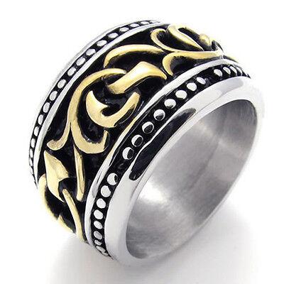 US Seller Men/'s Gold Silver Stainless Steel Biker Ring Size 7-13 SR61