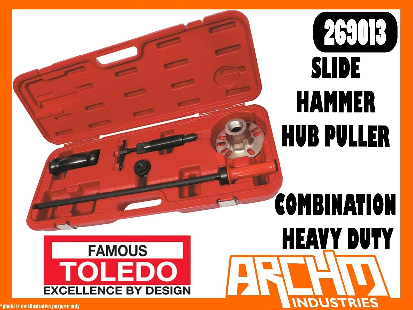TOLEDO 269013 - SLIDE HAMMER HUB PULLER COMBINATION HEAVY DUTY - HYDRAULIC