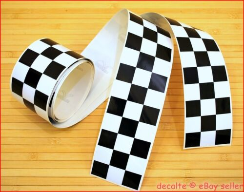 CAFE RACER Project Chequered Pair of Lengths Stripes Decals Tapes 1260mm x 60mm
