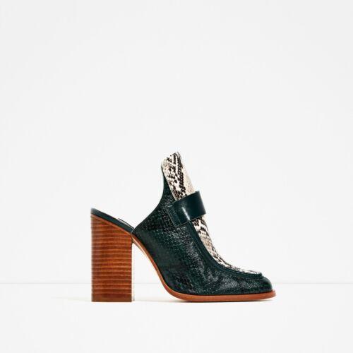 Zara Contrast Leather High Heel Mule Size 37,38,39,40