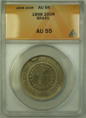1860-4 500 Reis Brazil Coin 8 and a Half Inch Solid Silver Spoon Amethyst Stone