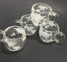 Nescafe World Mugs Cups 4 Globes Coffee Tea Cocoa Map Heavy Glass Clear Maps