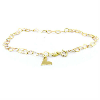 18k Gold-Flashed Sterling Silver Flat Heart Link Charm Anklet Italy Adjustable