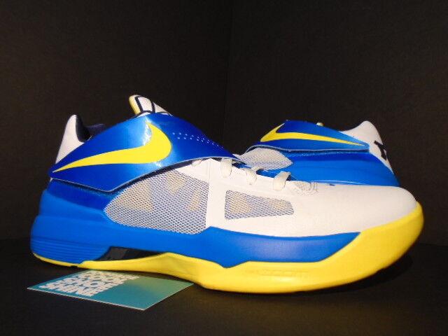 Nike Zoom KEVIN DURANT KD IV ENTOURAGE WARRIORS MVP WHITE PHOTO BLUE YELLOW 11.5