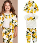 3pcs Baby Kid Girl Cotton Lemon Printed Coat+ T-Shirt Top + Pants Clothes Outfit