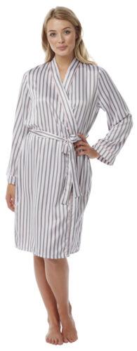 Ladies Satin Kimono Silk Feel Oriental Style Dressing Gown Robe Wrap Black Pink