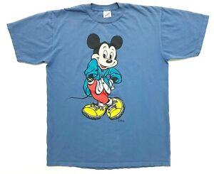 Vintage Mickey Mouse Tee Slate Blue Size L Mens T-Shirt Disney