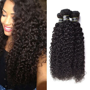 Naturel-Noir-Tissage-Kinky-Curly-Bresilien-Extension-Cheveux-Humain-Hair-3-Packs