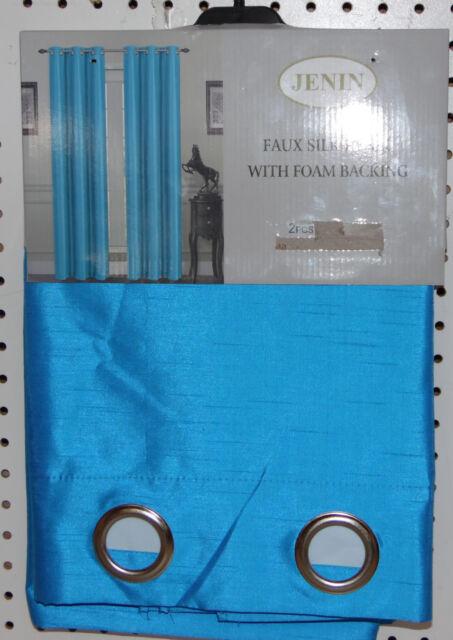 TWO panels FOAM BLACKOUT BRIGHT TURQUOISE BLUE  grommet window curtain LINED k55