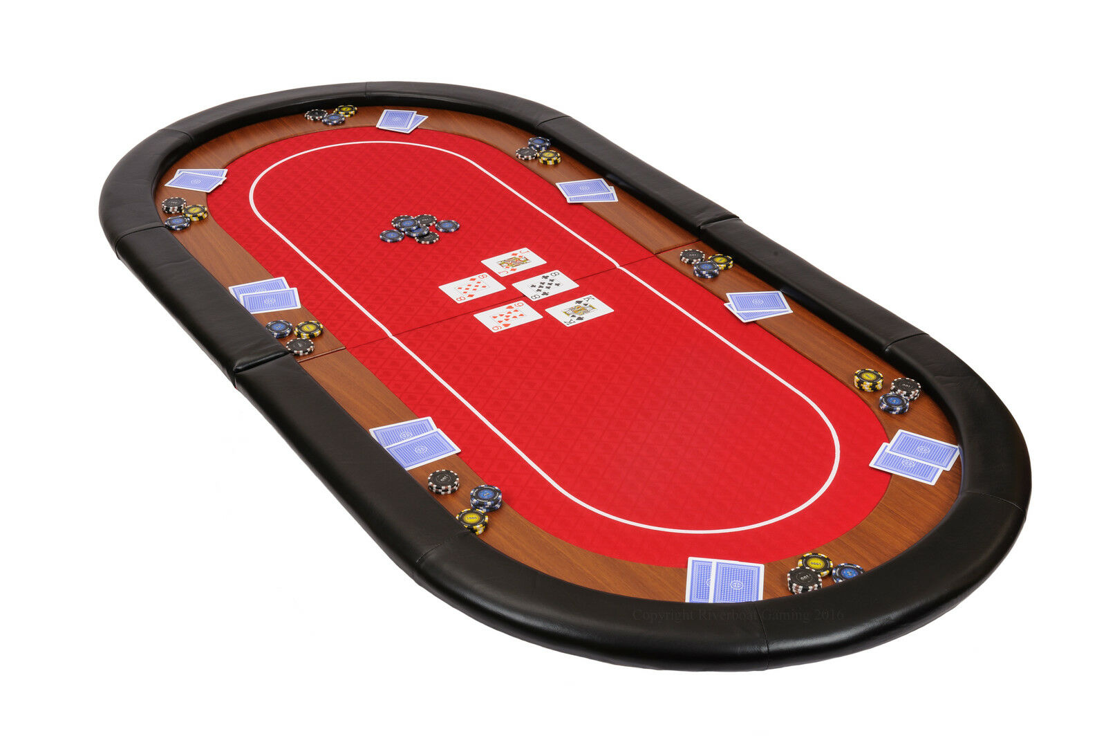 Champion Folding Poker Table Top in Red Speed Cloth 180cm with Leather Armrest