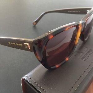 HUGO BOSS ORANGE Women s Brown Tortoise Rectangular Sunglasses ... ecc26a9d7d