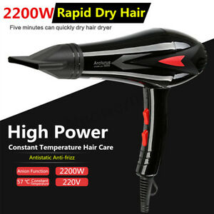 Professional-Salon-Hair-Dryer-Style-Blower-Hot-amp-Cold-Wind-With-Nozzle-2200W