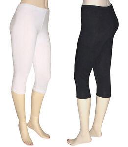 Women Cotton Spandex Capri Leggings | eBay
