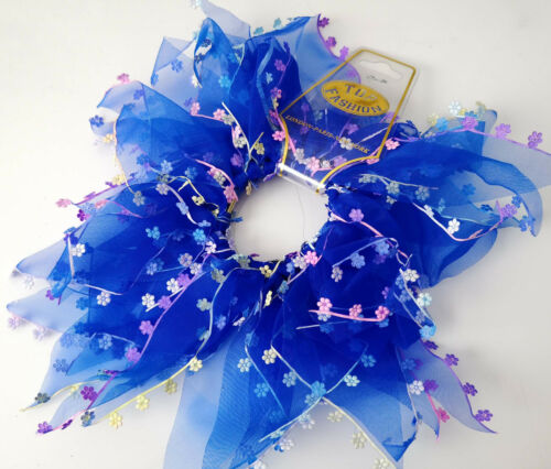 6 neon colour options Large bright coloured chiffon windmill hair scrunchie