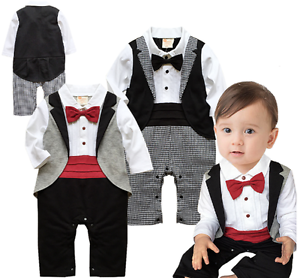 36ad75631a8f Baby Boy Wedding Formal Party Tuxedo Ruffle Suit Romper Outfit ...