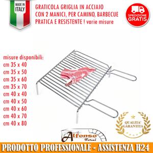 GRATICOLA GRIGLIA A 2 MANICI PER ARROSTIRE, ACCIAIO PESANTE, BBQ, ALFONSO FORNI