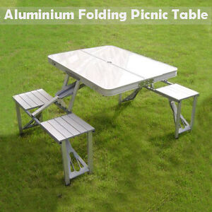 aluminium folding portable picnic outdoor camping set table 4 chairs bbq party ebay. Black Bedroom Furniture Sets. Home Design Ideas