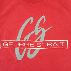 Vtg-80s-George-Strait-Fan-Club-Country-Music-Red-Pink-T-Shirt-Sz-Small-Rare