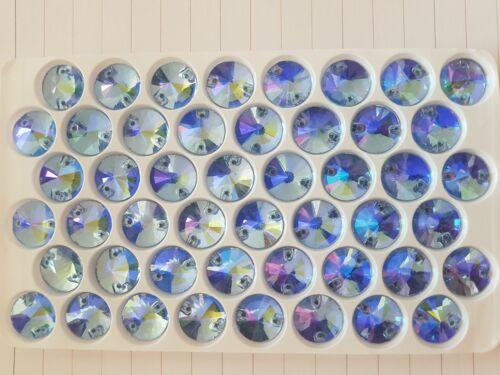 12 mm Azul AB Rivoli cose en puntada del grano de Cristal Gema Joya Cristal Estrás