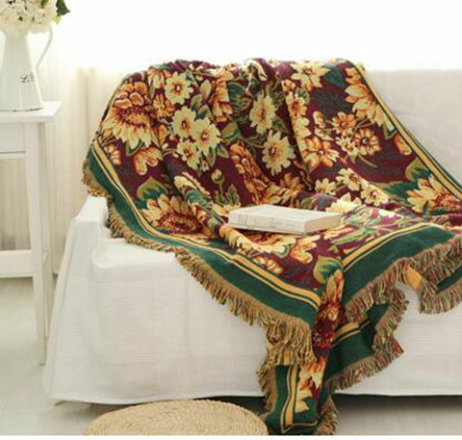Double Side Floral European Style Sofa Cover Throw Chair Cover Blanket  cotton