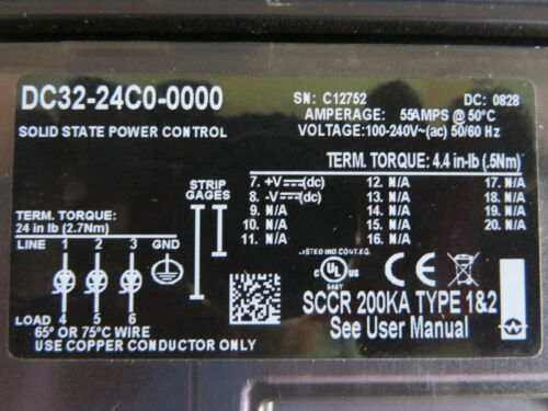 Watlow DC32-24C0-0000 DIN-A-MITE SCR Power Controller 55A 100-240VAC 3PH  w// Fan