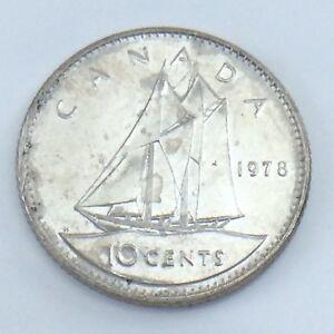 1978-Canada-10-Ten-Cent-Dime-Canadian-Brilliant-Uncirculated-Canadian-Coin-E809
