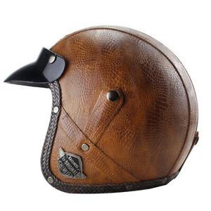 DOT Brown Motorcycle Helmet Deluxe PU Leather Open Face Scooter Cruiser Helmet