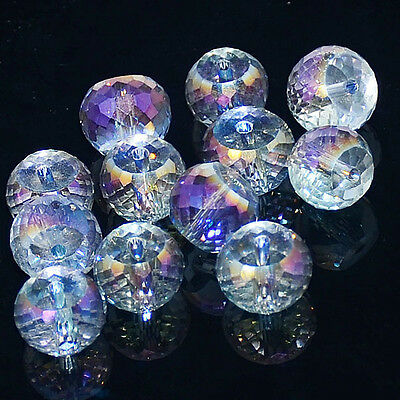 """Mutil-Color Facted Crystal Quartz Beads 8"""" 5x8mm 6x10mm 8x12mm"""