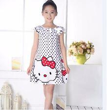 Girls Dress Children Sleep Kid Clothes Nightgowns black spots cat D10T 5-6 Years