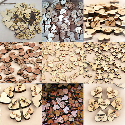 Rustic Wooden Wood Love Heart Wedding Table Scatter Decoration Crafts UK