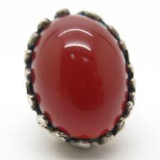 Vtg Sterling Silver Large Real Carnelian Gemstone Modernist Adjustable Ring 6