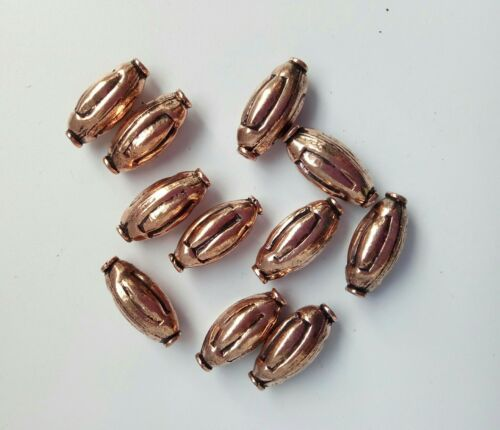 Gorgeous  large pure copper  collared rice beads Pack of 10