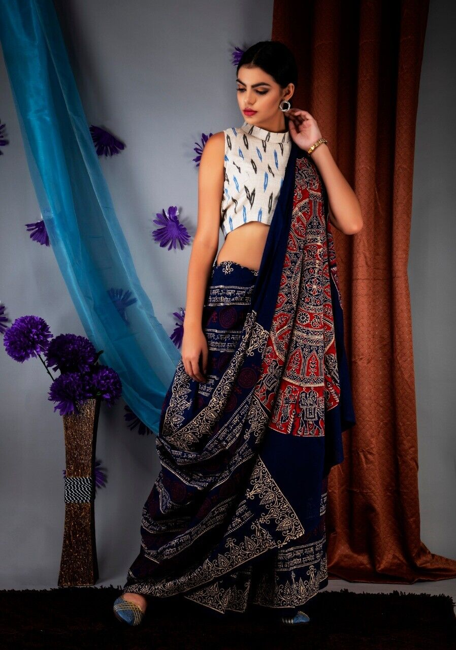 For Women New Hand Made Ajrak Print Pure Cotton Saree & Unstitched Blouse Piece