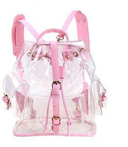 Clear Drawstring Backpack Cute Knapsack Satchel Transparent School ...