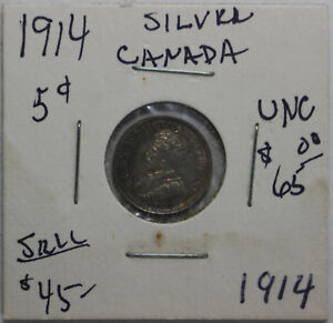 1914 Canada Silver 5 Cent Coin - Very Nice
