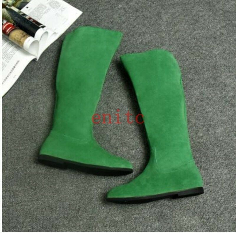 2017 NEw Suede Leather Knee High Boots Flats Womens Knight Riding Boots US 4-8.5