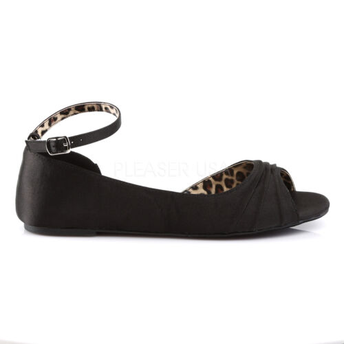 PLEASER Black Satin Flats Women/'s Shoes with Ankle Strap Large SIZES ANNA03//BSA