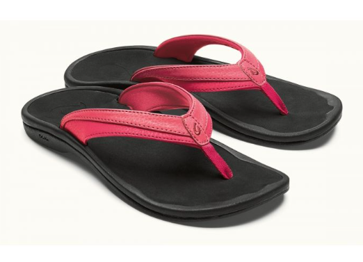 Olukai Ohana Guava Jelly Black Comfort Flip Flop Sandal Women's sizes 5-7 NEW
