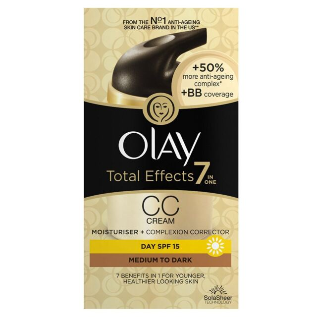 Olay Total Effects Colour Correction Cream Moisturiser SPF15 Medium To Dark 50ml