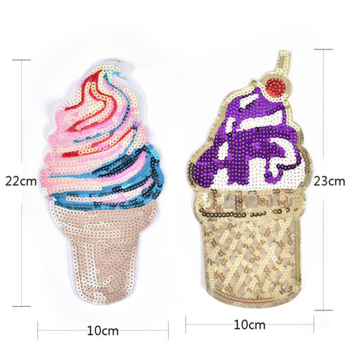 Iron Patch For Clothing Sticker DIY Sewing Badge Sequined Ice Cream Applique SE