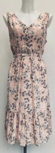 BNWT-Rrp-90-Laura-Ashley-Blush-Pink-amp-Grey-Floral-Frill-Tie-Waist-Midi-Dress-14
