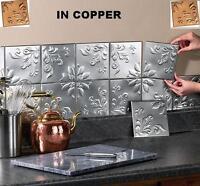 Set Of 14 Tin Copper Kitchen Backsplash Tiles W/ Adhesive Strips Ea. 6sq
