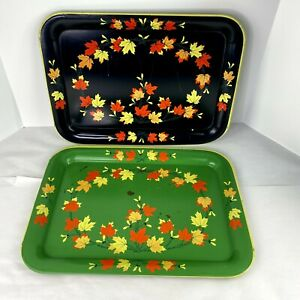 Vintage-Mid-Century-Metal-Green-Black-Fall-Leaves-Serving-TV-Tray-Set-of-2