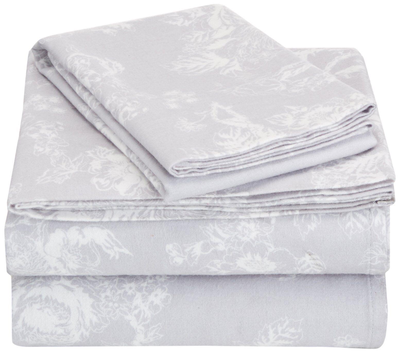 Pinzon 170 Gram Flannel Sheet Set - Twin XL, Floral Grey
