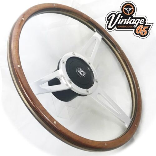 "Vw T2 T3 Camper Bay 17/"" Wood Rim Polished Slotted Steering /& Wheel Boss Kit"