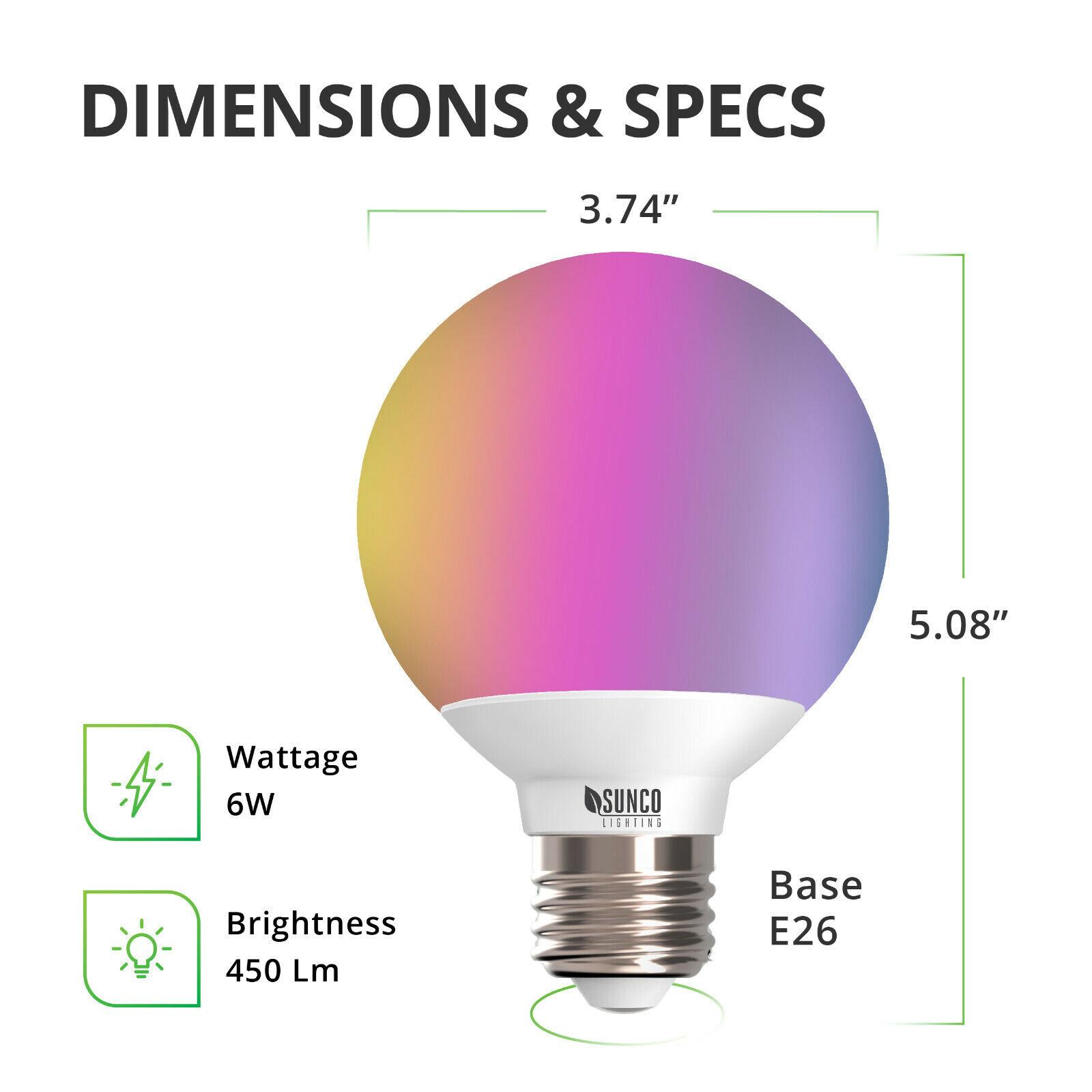 SunCo Iluminación Bombilla Led Smart G25 Wifi Música Sincronización Alexa + 14pk compatible con Google