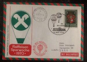 1970 Vienna Austria First Day Balloon Airmail FDC Cover To Graz Economy Week