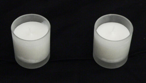 48 Frosted Glass Cup White Wax Votive Candle party table room wedding 6cm 10hr+